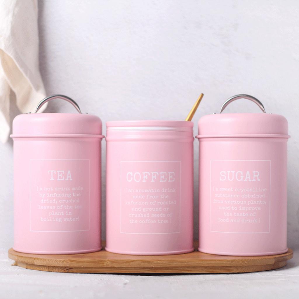 3`lü Demir bidon Teneke Mutfak Kahve Çay Şeker Depolama Konteyner - Pembe