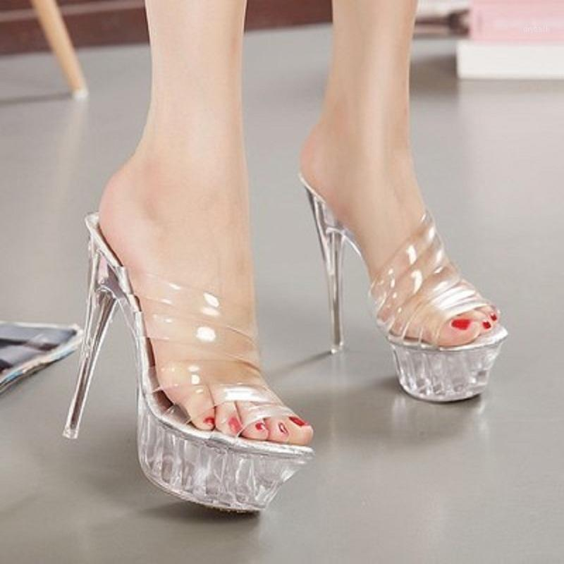 2021 Summer New Women's High-heeled Sandals 14 Cm Crystal Clear With Hasp Waterproof Nightclubs Large yard High-heeled Fine with1