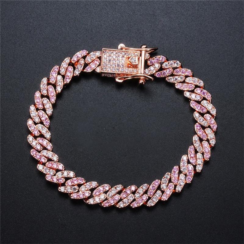 Pulsera de moda de la manera mujeres de los hombres de las pulseras pulseras cubanos chapados en oro de Bling CZ joyas de piedra Hombres Mujeres