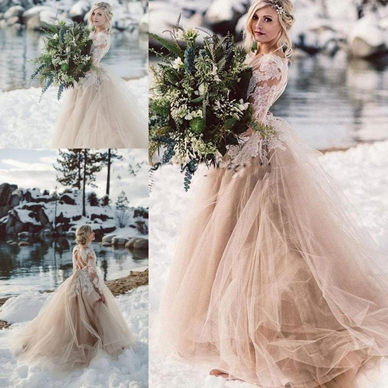 Champagne Lace Beach Wedding Dresses with Long Sleeves Tulle Backless Fairy Tale Bride Gowns Vestido De Noiva