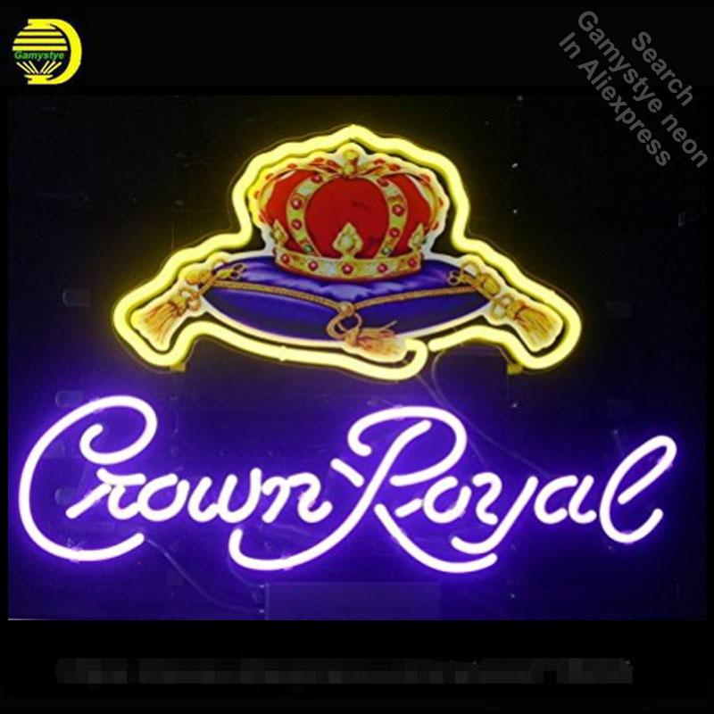 Corona Roy Decoración de neón bombilla de neón de la muestra Señal de cristal del tubo de neón ilumina Recreación RoomProfessiona icónica sesión publicidad Lámparas