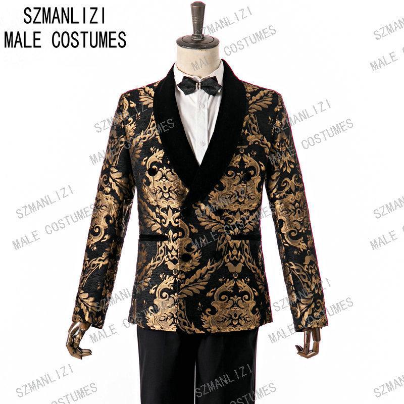SZMANLIZI New Arrival 2020 Hommes Costumes Slim Fit 2 pièces à double boutonnage Prom smokings marié mariage Veste d'homme Blazer meilleur