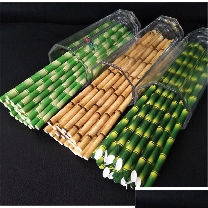 Много дезопозируемой бамбуковой бамбуковой соломинки соломинки экологически чистые биоразлагаемые соломинки используют вечеринку 25шт бумага солома s bbybrub bde_luck fvdtg