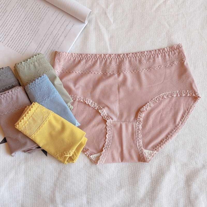 Gelo underwear mulheres lace simples cor sólida meados cintura cuecas