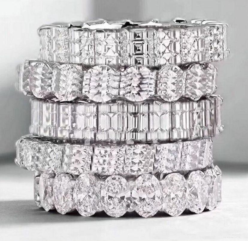 925 Sterling Silver Anneaux de diamant complets pour Lady Femmes Party Party Mariage Engagement Bijoux Bijoux Cadeau avec boîte
