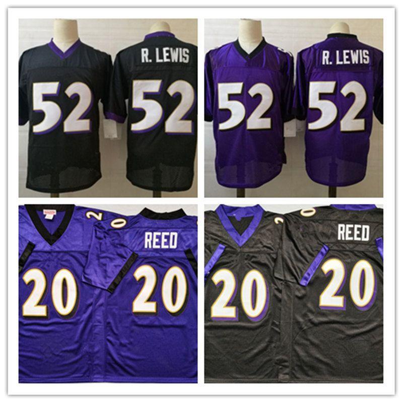Erkek NCAA Vintage # 52 Ray Lewis Futbol Jersey Dikişli Siyah Mor 2004 # 20 Ed Reed jersery # 52 R.lewis Jersey