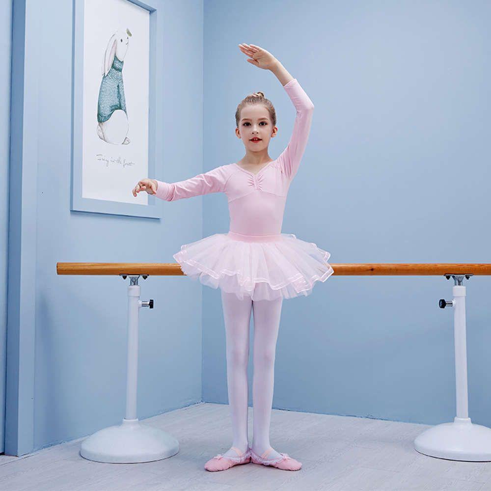Hoher Kinder Pompous Rock Performance Dance Long Sve Elastic Kämmte Baumwolle Balletttraining DRS