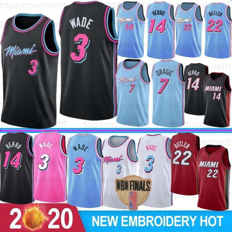 NCAA 3 Дуэйн Уэйд Майами Хит Mens Kids College Баскетбольные майки 22 Джимми Батлер 14 Тайлер Херро 25 Кендрик Нанн 7 Goran Dragic 2019 2020 New Jerseys