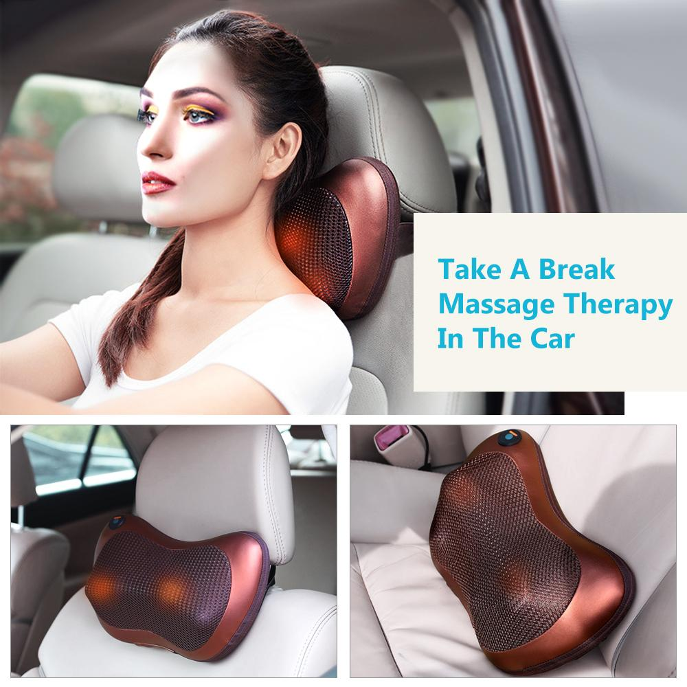 Relaxamento Shiashu Rollers Neck Massage Pillow 360 Rotating Amassar Dor Car Relief Home Use Terapia Infraed Saúde Cuidados com o corpo