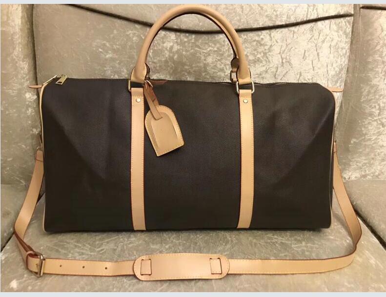 Erkekler beyaz Kilit Duffel çanta kadın çantaları bagaj çanta Bayan pu deri çanta seyahat tuşlar büyük çapraz vücut çanta kılıf 55cm