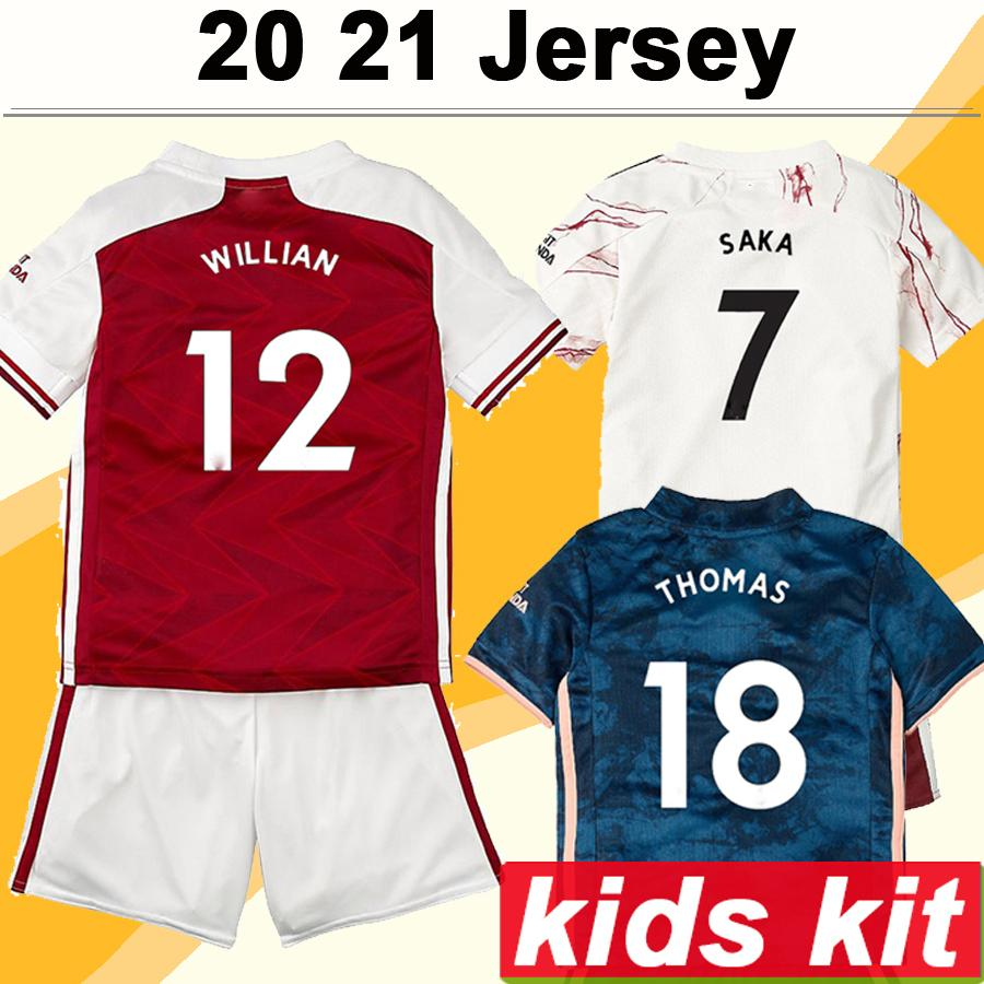 2020 2021 Kids Kit TIERNEY SAKA WILLIAN Soccer Jerseys MAITLAND-NILES THOMAS PEPE Home Red Away White 3rd Football Shirt Child Uniforms