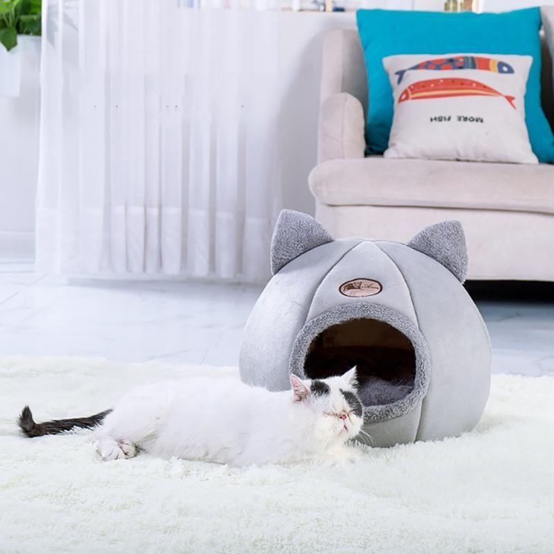 38 # animal de estimação cão cão barraca casa canil inverno ninho quente macio almofada dobrável pad puppy caverna esteira de dormir ninho canil pet
