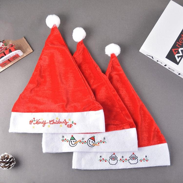 hot Christmas hat embroidered party dress up Santa Hat Christmas decoration gifts Christmas ornament 3 style T2I51560