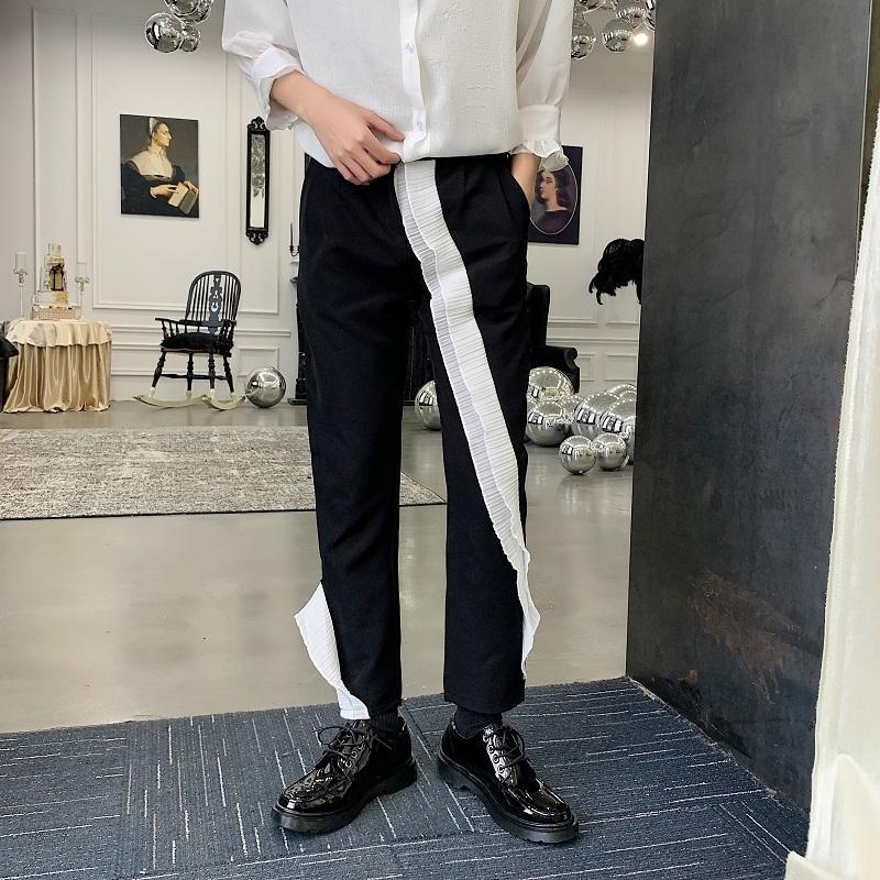 M-2XL !! Yaz Tasarımcısı Gece Kulübü Sahne Niş Düzensiz Ruffled Rahat Dokuz Puan Titte Marka Erkek Dantel Pantolon.