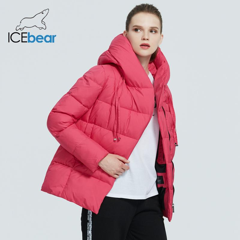Icebear neue Winter Damen Mantel Markenkleidung beiläufige weibliche Winterjacke warme Damen kurz mit Kapuze Parka GWD19011D 201028