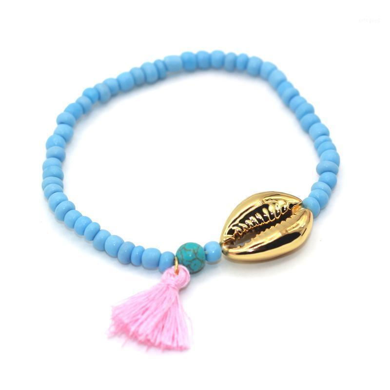 Браслеты очарования настоящая раковина с высококачественным серебристыми семенами шарики Bohemia стиль кисточек женщины браслет1