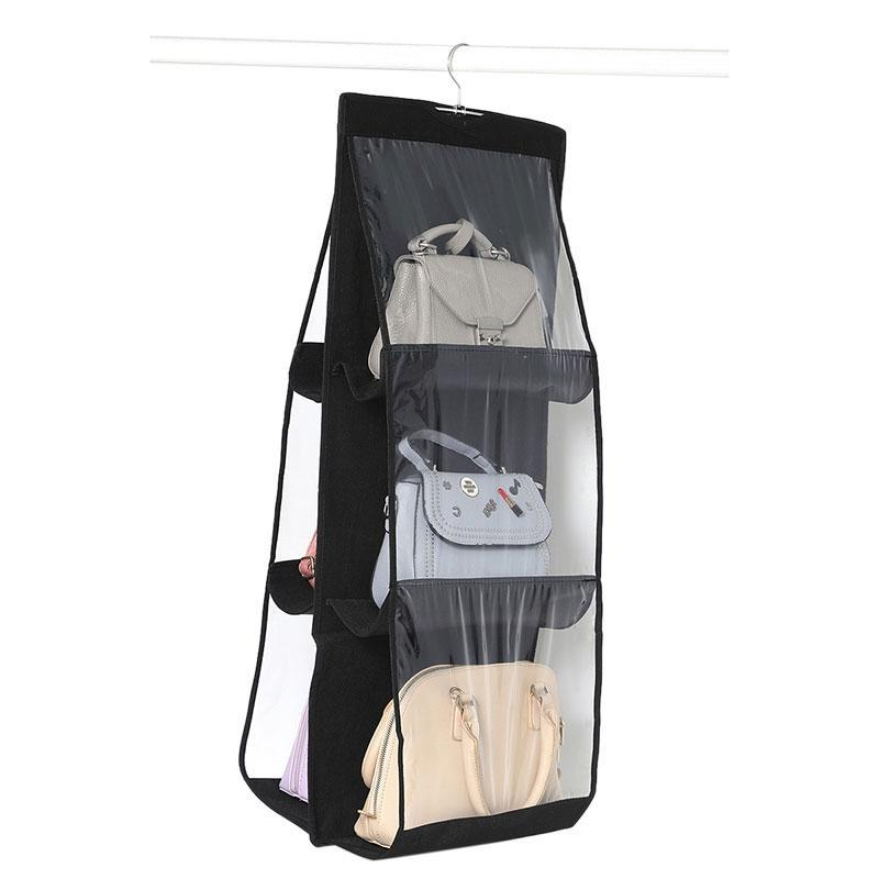 6 Pocket pieghevoli sacchetto d'attaccatura 3 strati pieghevole Shelf sacchetto dell'organizzatore della borsa della porta diversi di tasca gancio armadio Hanger