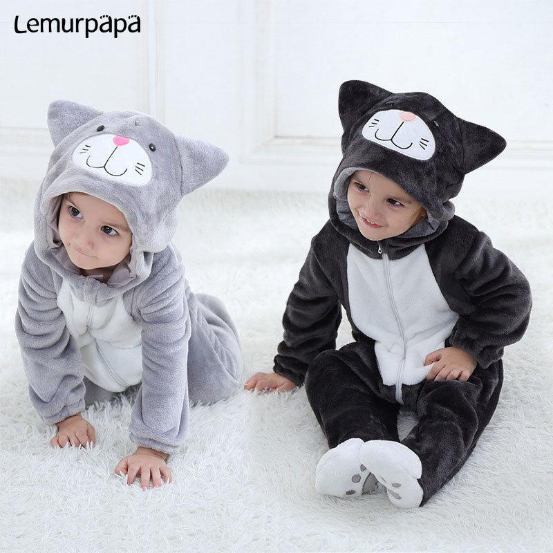 Traje del gato Romper bebé Charmmy muchacha del muchacho de Kawaii Onesie cremallera con capucha animal de la historieta del niño recién nacido ropa del niño caliente suave Q1113