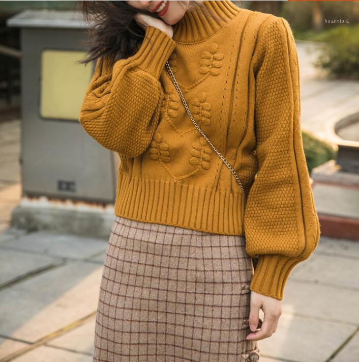 Mujeres suéter francés vintage hecha a mano de linterna tridimensional de la linterna de la cintura alta jersey suéter corto1