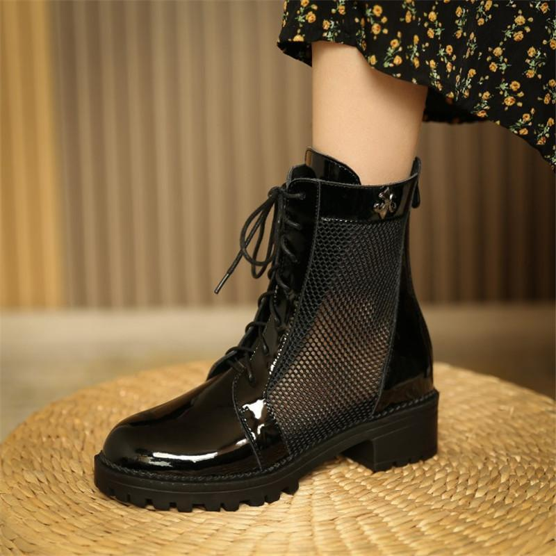 Spring New Women Boots Mesh Boots Round Toe Lace-Up Chunky Heel Breathable Short Tube Large Size 34-43 Item No.Q157