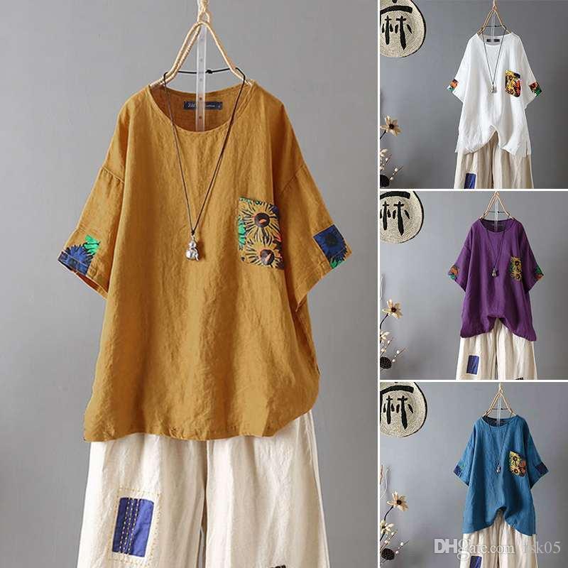 remiendo de las mujeres de la blusa de 2020 ZANZEA verano de la manera tapas causal de la manga corta Camisas Mujer Impreso Blusas de gran tamaño de la túnica 5XL