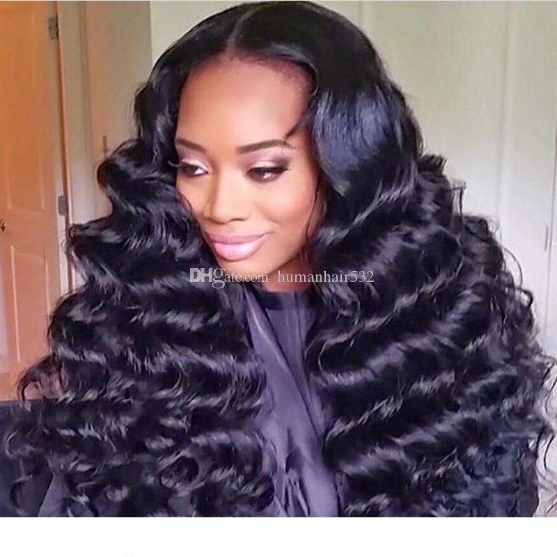 Сыпучие завитые парик Glueless Необработанные Virgin бразильский Полный шнурка человеческих волос Свободные волны парики с ребенком волос Natural Hairline