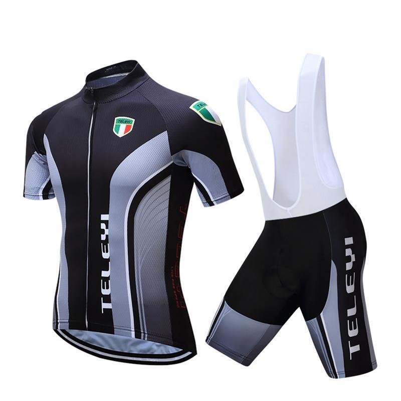 teleyi verano ropa de ciclo bici del camino establecido jerseys jerseys del babero de ciclo de secado rápido Conjunto Maillot Hombre Ropa de Ciclismo de Hombres