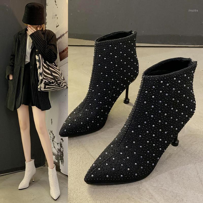 Сапоги Женские лодыжки плюс размер стразы высокие каблуки обувь женщина ZIP остроконечный носок сексуальный мотоцикл для женщин Sock1