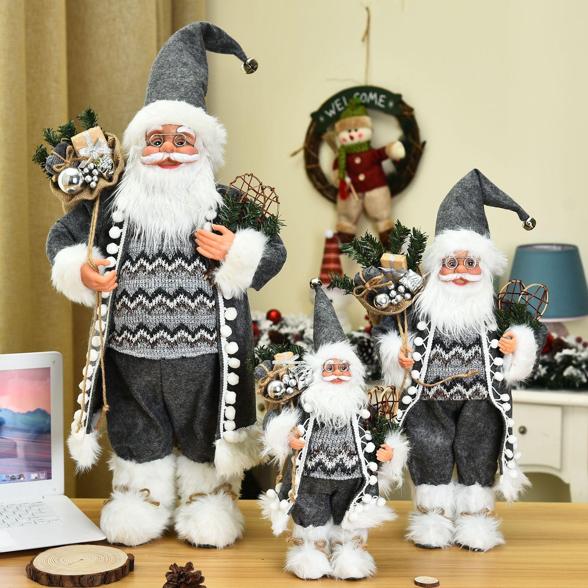 2021 New Christmas Decoration Santa Claus Doll Gift Christmas Tree Decor Creative Plush Santa Claus Toy Ornaments 30/45/60 Cm 1008
