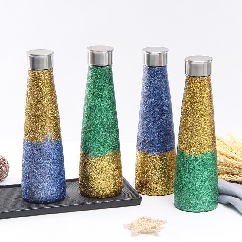 450ml colorato thermos bottiglia in acciaio inox diamanti gradiente colore bottiglia d'acqua sottovuoto tazza bottiglie all'aperto bottiglia d'acqua sportiva