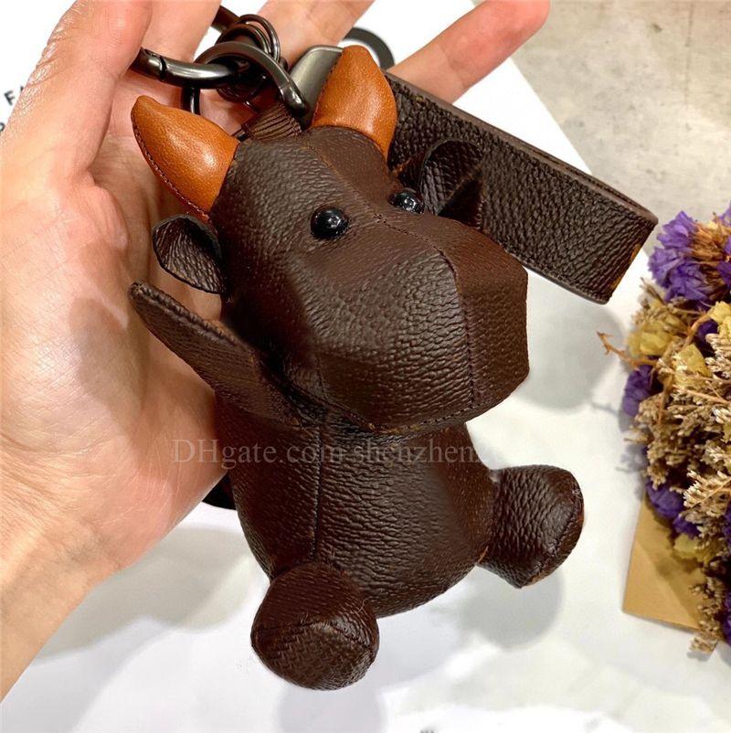 3D desenhos animados animal boi designer chaveiro pu vaca de couro chave chaveiro chaveiro bolsa de carro keychain com caixa de presente