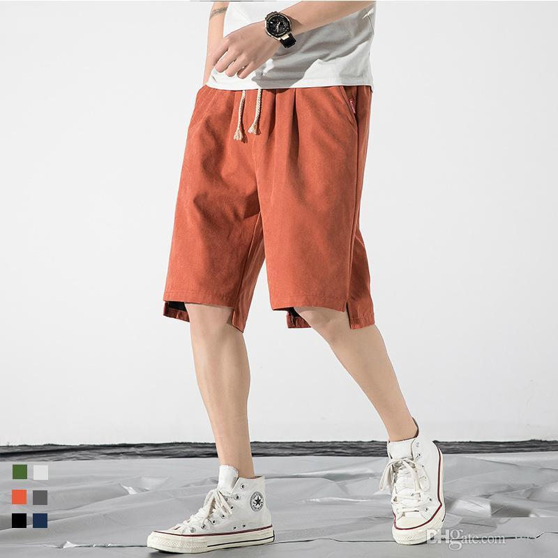 Pantalones cortos casuales masculinos pantalones masculinos sólidos mediados de longitud pantalones streetwear plisado shorts delgados hombres niño fresco japonés estilo moda