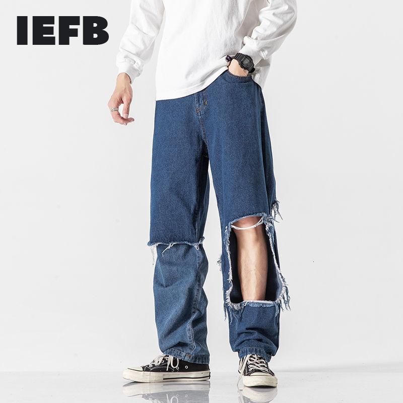 IFB Pantaloni da uomo Pantaloni da uomo in denim Pantaloni Patchwork Falso Due pezzi Jeans Black High Waist Streight Pants Streetwear Fashion 9Y41281