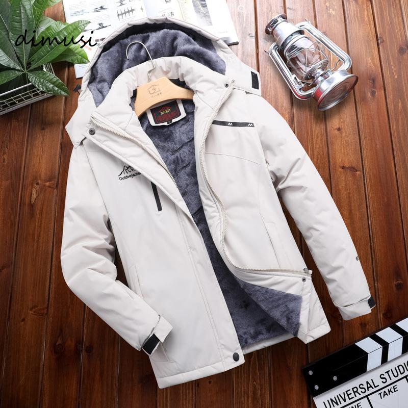 DIMUSI Men's Jacket Winter Casual Men Fleece Warm Windbreaker Hooded Coats Outdoor Thermal Waterproof Jackets Mens Clothing