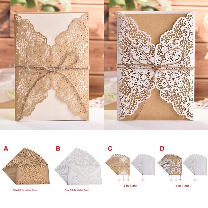 10шт Laser Cut свадебных приглашения карты Bowknot Блеск приглашение карта Урожай Свадебный душ Подарок Поздравительных Tarje Kit