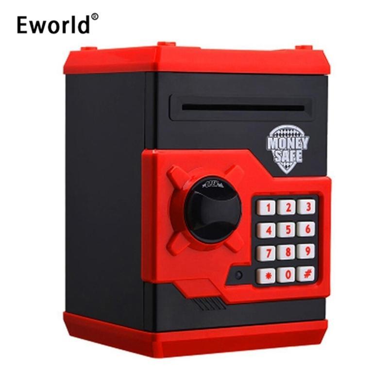 Eworld Hot New Piggy Bank Mini ATM Money Box Безопасность Электронный пароль Жевательная монета Кассовый депозитный Станок Подарок для детей Kids LJ201212