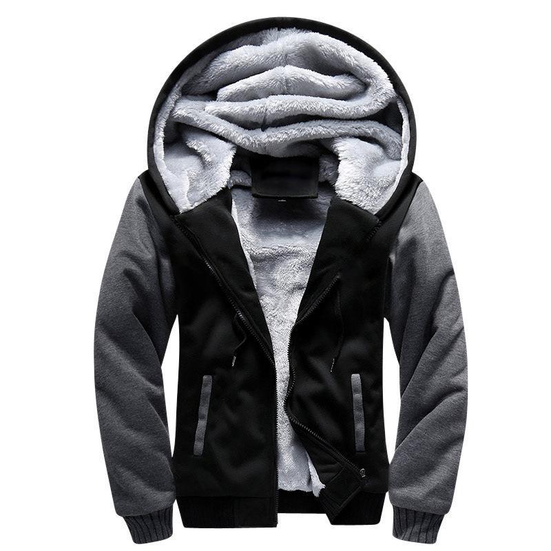 Con cappuccio inverno spesso Felpe Casual Bomber Cardigan con cappuccio della pelliccia di modo della chiusura lampo del cappotto Shionfa Patchwork in pile da uomo 5XL 201019