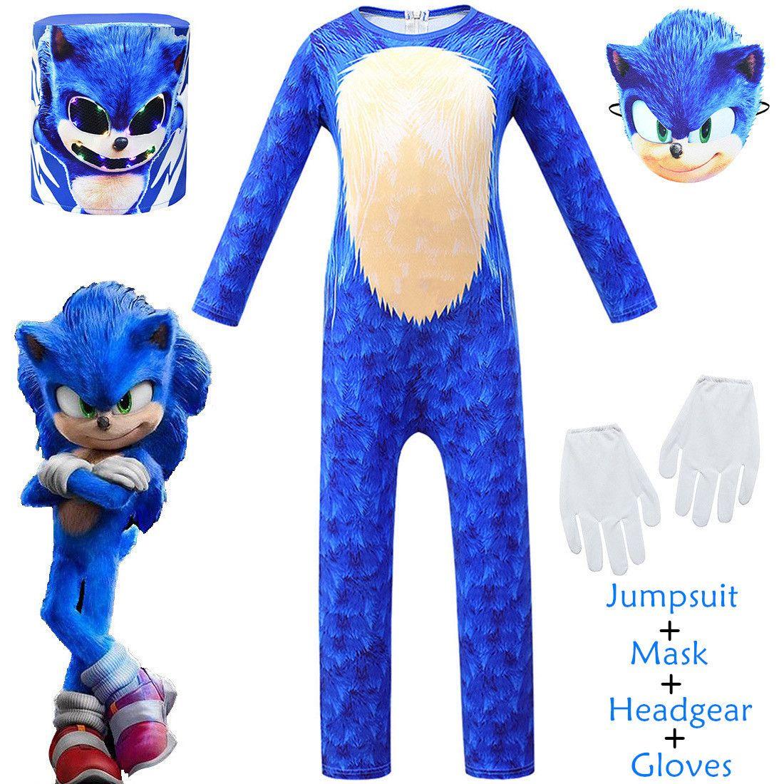 Neue 2020 Kinder Sonic The Igel Video Spiel Anime Cosplay Halloween Karneval Party Overalls Maske Kostüm Für Kinder Dress Up