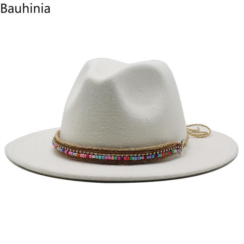 Широкие шляпы Breim Hats мода женщины мужская шерсть fedora шляпа джентльмена элегантная леди capora джаз panama cap размер 56-58cm / 59-61cm