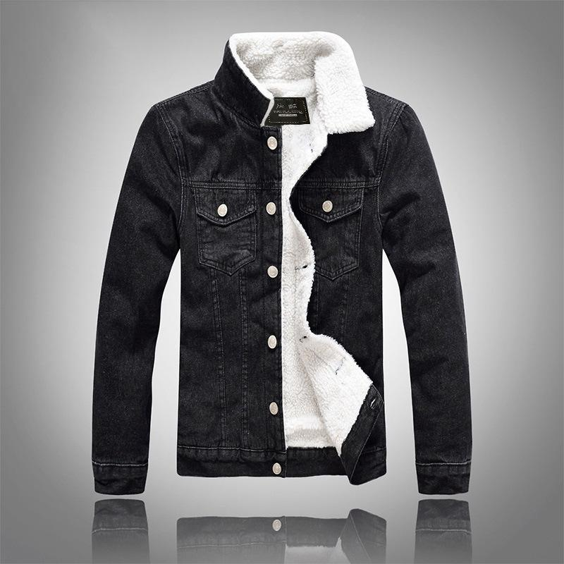 Mens Jeansjacke Trendy Winter warme Fleece Mäntel Outwear Mode Jean Jacken Männer Cowboy-beiläufige Kleidung Plus Size 6XL 7011
