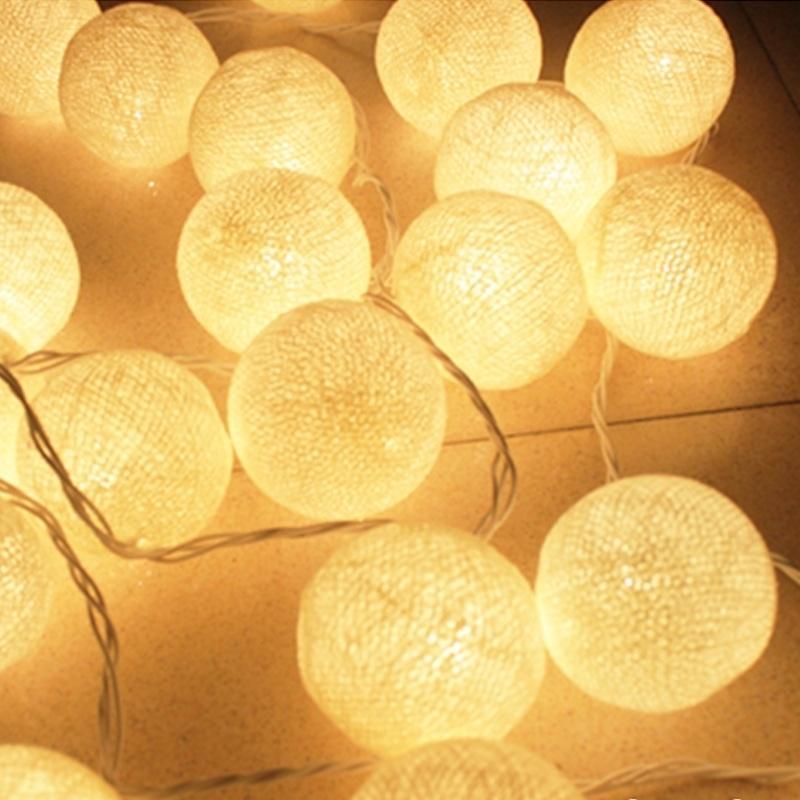 6cm de coton extérieur boule de coton LED ficelle lumières 5m 20leds Lampe de Noël Fairy Home Mariage Décoration Patio Light AC 220V / 110V 201127