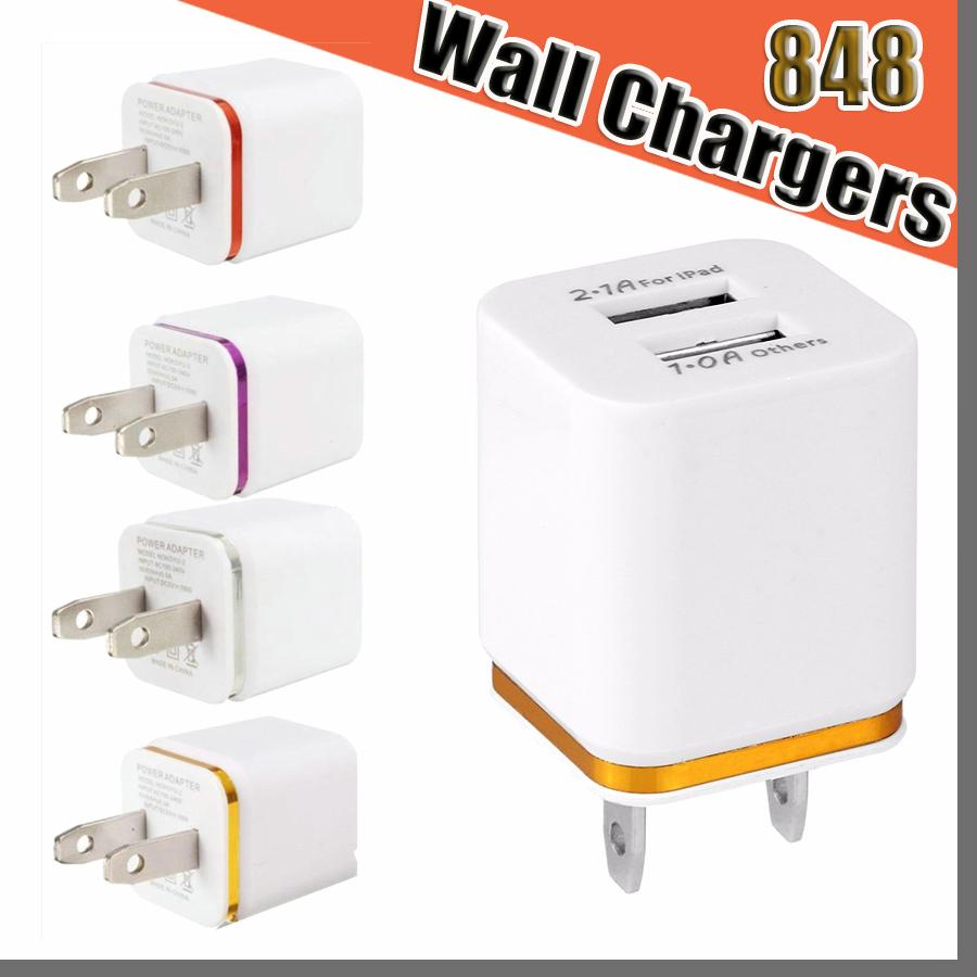 848D High Quality Wall Chargers 5V 2.1+1A US Plug usb charger adapter Universal AC Power Adapter For Samsung Galaxy HTC Smart Phone