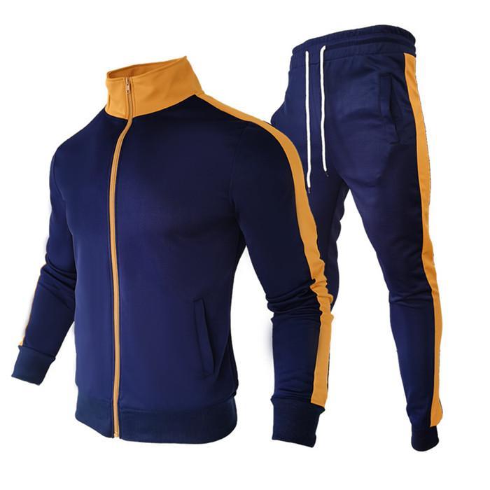 رجل اثنان قطعة رياضية خليط الوقوف طوق سستة سترة معاطف الرجل عارضة sweatpants الخريف الشتاء الرجال سليم مجموعة الملابس