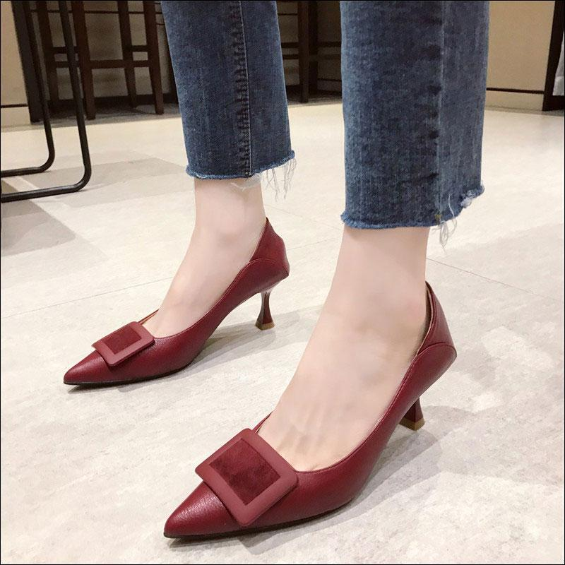 2020 Women's Basic Pumps Thin Heel Leather Pointed Toe Slip on Casual Shoes Leisure Comfortable Pumps Ladies Shoes