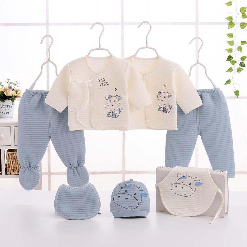 Комплекты одежды 0-3 м Младенческая зимняя одежда ребёнок девочка с длинным рукавом мультфильм топы + шляпа + брюки + наряды нагрудник набор пинсов набор 7шт синий, розовый, yellow1