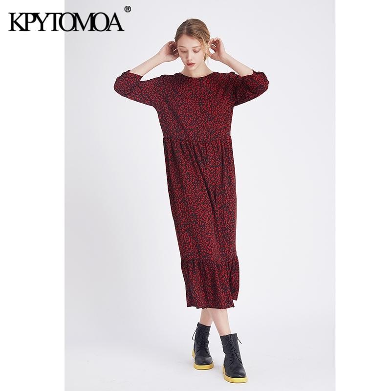 Старинные стильные леопардовые принты Rauffled MIDI платье женщины мода о шеи три четверти рукава элегантные платья Vestidos Mujer Y200101