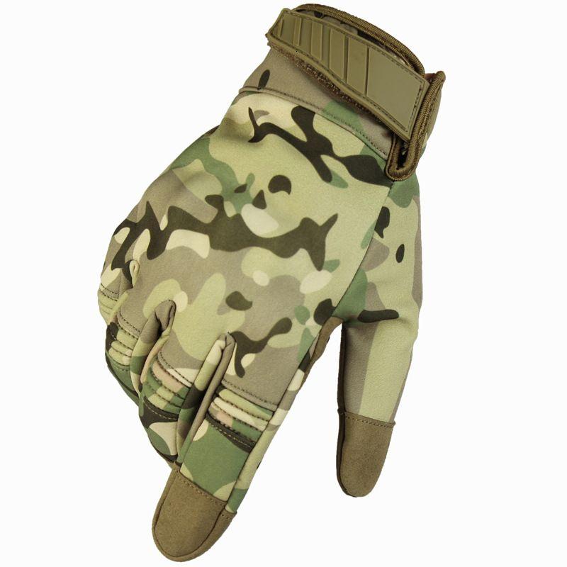 Camo taktische handschuhe armee paintball schießen handschuh männer winddicht winter fahrrad volle finger jagd handschuhe