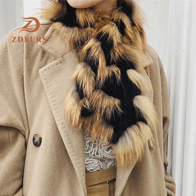 Zdfurs * foulard de fourrure naturelle pour femmes 2020 filles d'hiver rex fourrure et foulards rouges rings1
