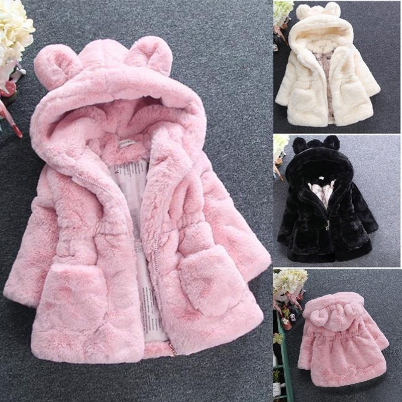 Nueva Moda Invierno Bebé Niñas Ropa Faux Fur Fleece Coat Pageant Chaqueta Caliente Navidad Snowsuit 1-8Y Baby Chaqueta con capucha Outerwear 201104