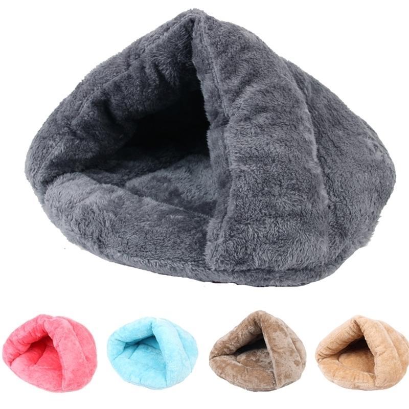 Hiver chaud animaux domestiques lit 9 couleurs douce molleton épaissie nid petit chiot chippy chiten chaton chaton cave sac de couchage chiot 201125